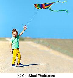 feliz, niño, juego, con, cometa, en, verano, campo