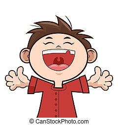 feliz, niño, niño, sonriente