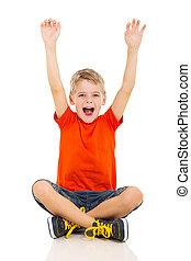 feliz, niño pequeño, brazos up
