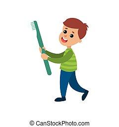 feliz, niño pequeño, proceso de llevar, gigante, cepillo de dientes, caricatura, vector, ilustración