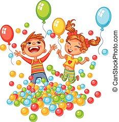 feliz, niño y niña, juego, con, colorido, pelotas, en, patio...