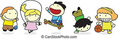 feliz, niños, actividad