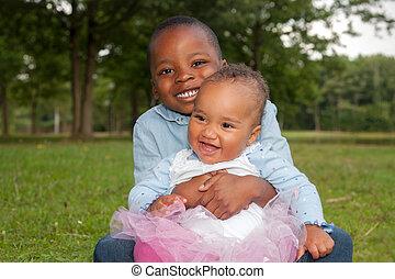 feliz, niños, africano