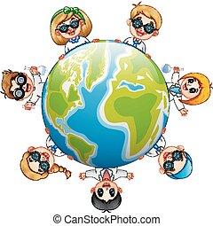 feliz, niños, alrededor, la tierra