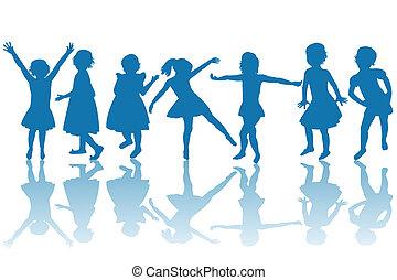 feliz, niños, azul, siluetas