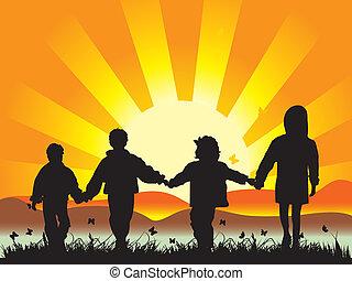 feliz, niños, caminata, en, pradera, teniendo, manos unidas