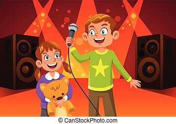 feliz, niños, canto, ilustración