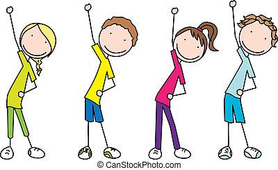 Resultado de imagen de aerobic dibujo niños niñas