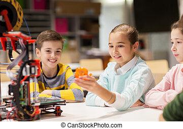 feliz, niños, con, 3d, impresora, en, robótica, escuela