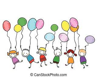 feliz, niños, con, globos