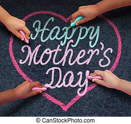 feliz, niños, día, madres