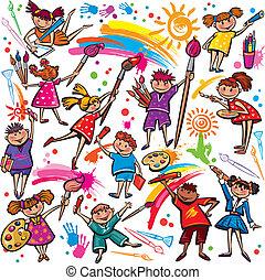 feliz, niños, dibujo, con, cepillo, y, colorido, carboncillos
