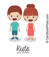 feliz, niños, diseño