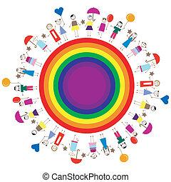 feliz, niños, en, un, arco irirs, círculo