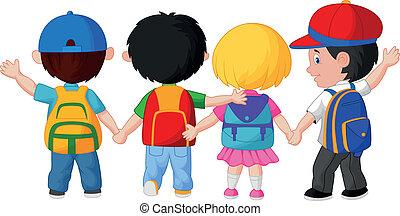 feliz, niños jóvenes, caricatura, walkin