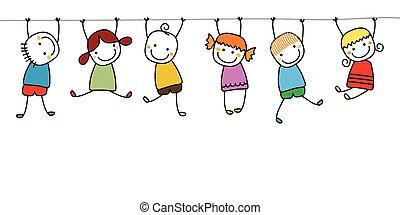 feliz, niños, juego
