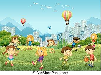 feliz, niños, juego, en el estacionamiento