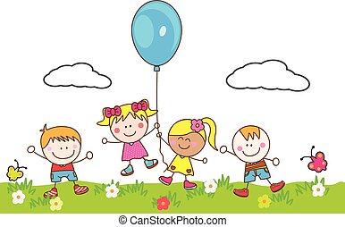 feliz, niños, juego, globo, en, parque