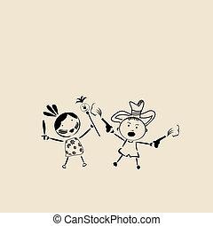 feliz, niños jugar, bosquejo