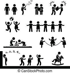 feliz, niños jugar, pictogram