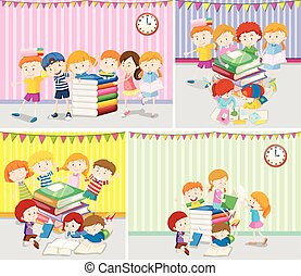 feliz, niños, lectura, libros