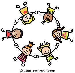 feliz, niños, llevar a cabo la mano
