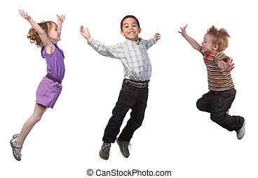 feliz, niños, saltar
