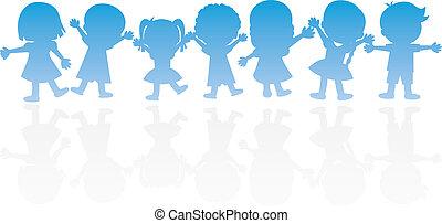 feliz, niños, siluetas, plano de fondo