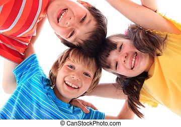 feliz, niños, tres