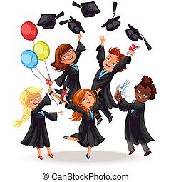 feliz, niños y niñas, en, fiesta de ceremonia de entrega de diplomas