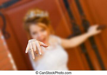 feliz, noiva, mostra, anel, ligado, seu, finger.