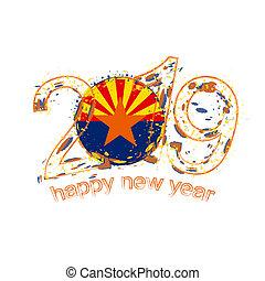 feliz, novo, 2019, ano, com, bandeira, de, arizona, nós, state., feriado, grunge, vetorial, illustration.