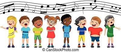 feliz, o, coro, aislado, posición, niños, canto, multicultural, niños