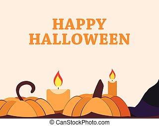 feliz, octubre, festivo, candles., halloween, saludo, ilustración, fondo., vector, 31st., feriado, tarjeta, calabaza
