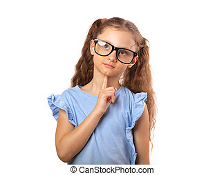 feliz, olho, pensando, cima, isolado, olhar, grimacing, vazio, fundo, divertimento, menina, cópia, branca, spase., óculos