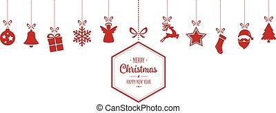 feliz, ornamentos, fundo, penduradas, natal, vermelho