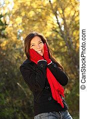 feliz, otoño, mujer