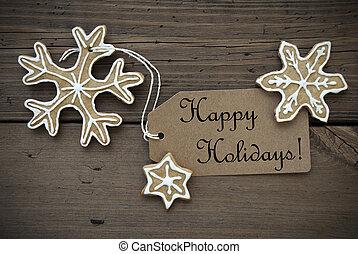 feliz, pães, gengibre, feriados