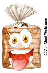 feliz, pão, pão, rosto