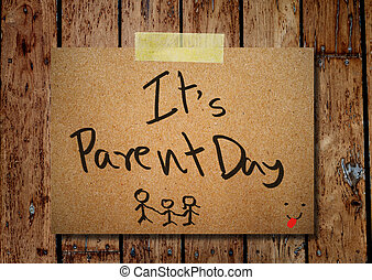 feliz, padre, día, en, note papel, con, de madera, plano de fondo