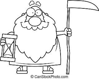feliz, pai, caricatura, tempo