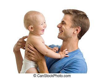 feliz, pai, tocando, com, pequeno, criança, isolado, branco