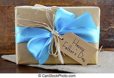 feliz, papel, padres, natural, kraft, regalo, día