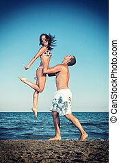 feliz, par jovem, divirta, ligado, a, bonito, praia