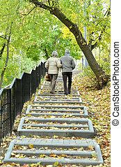 feliz, par velho, em, outono, parque, andar