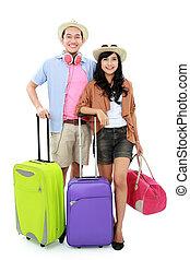 feliz, pareja joven, se ir de vacaciones