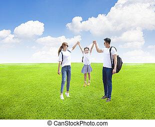 feliz, park., tocando, família, criança