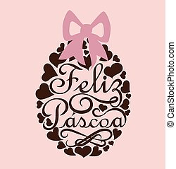 Feliz Pascoa is Happy Easter in portuguese. Flat design with...