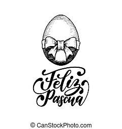 feliz, pascua feliz, huevo, ilustración, vector., manuscrito...