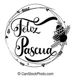 feliz, pascua, lettering.